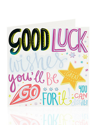 Bright Letters Good Luck Greetings Card Home