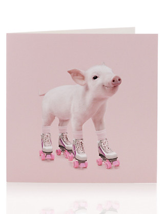 Piglet on Roller-Skates Blank Greetings Card Home
