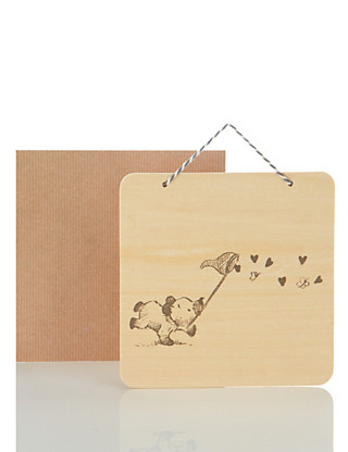 Wooden Keepsake Cute Bear Blank Card Home