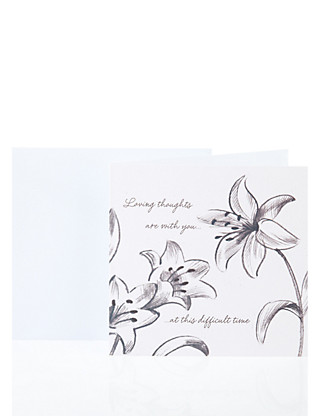 Sketchy Floral Sympathy Greetings Card Home