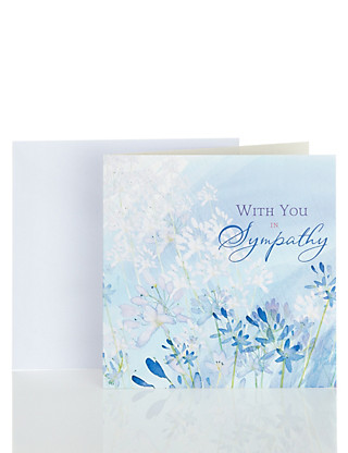 Blue Floral Sympathy Greetings Card Home