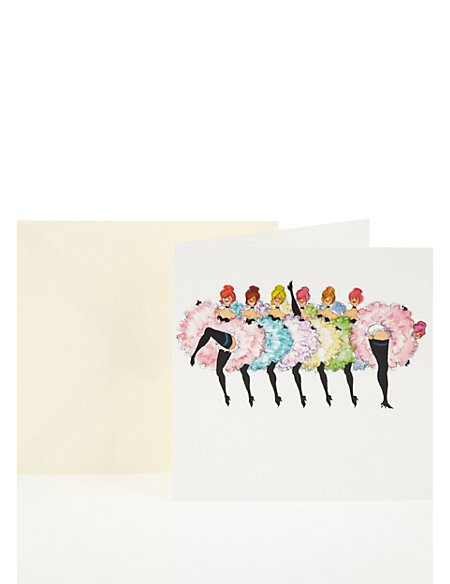 Can Can Girls Blank Greetings Card