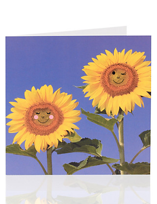 Smiley Sunflowers Blank Card Home