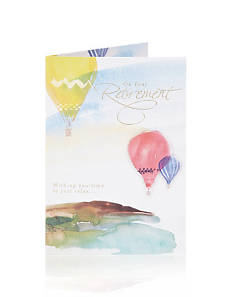 Hot Air Balloons Retirement Greetings Card Home