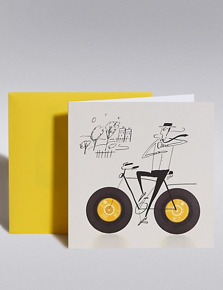 Man on Bike Blank Card