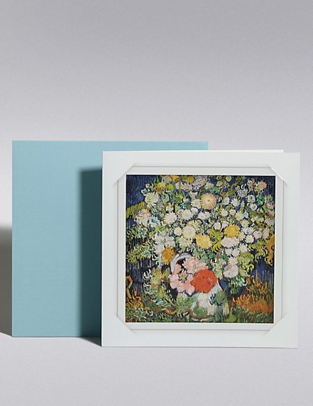 Works of Art Vincent Van Gough Bouquet of Flower in Vase Blank Card