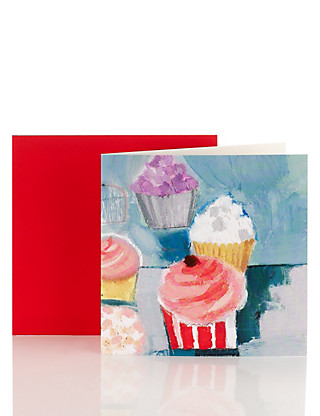 Cup Cake Blank Greetings Card Home