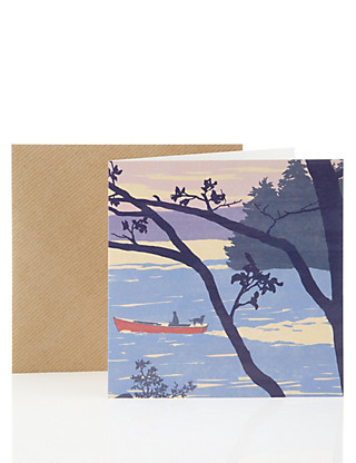 Illustrated Lake Blank Card Home