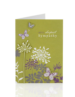 Green Butterfly Sympathy Card Home