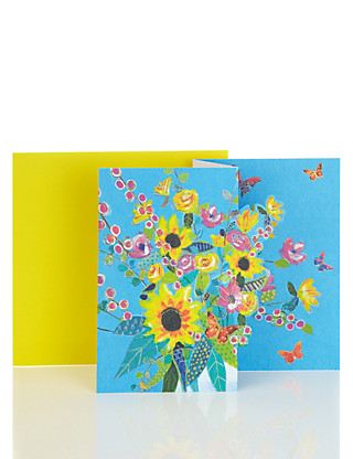 3D Bouquet Blank Card Home