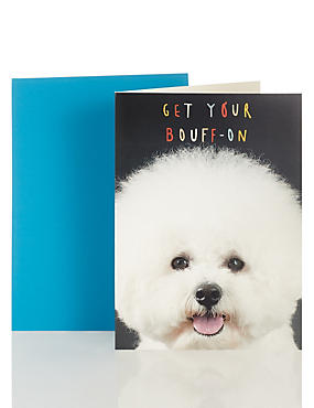 Poofy Bouff-on Dog Blank Card