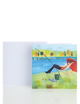 Classic Fishing Scene Blank Card Home