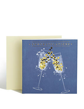 Champagne Flutes Congratulations Card
