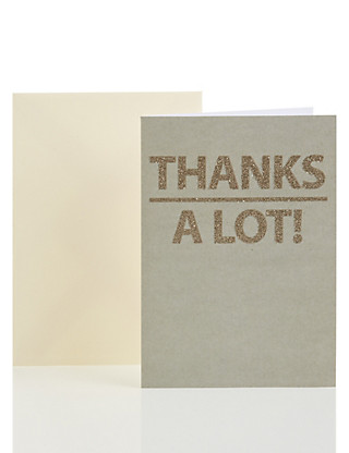 Glittered Lettering Thank You Card Home