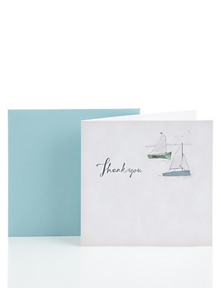 Classic Two Boats Thank You Card Home