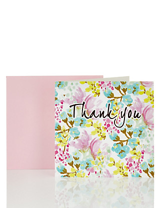 Thank You Floral Pattern Greetings Card Home