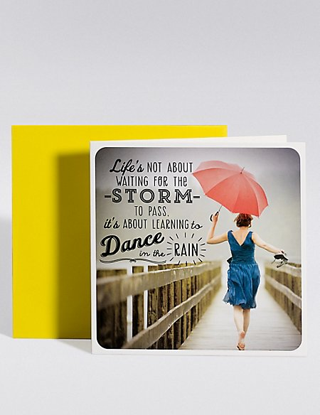 Think Happy Dance in the Rain Blank Card