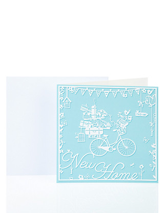 Blue Bicycle New Home Greetings Card Home