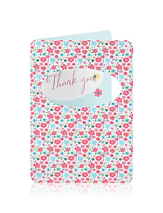 Floral Thank You Greetings Card Home