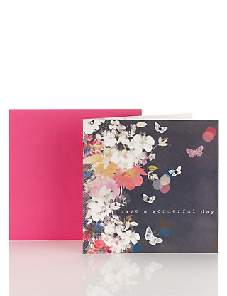 Floral Butterfly Birthday Card Home