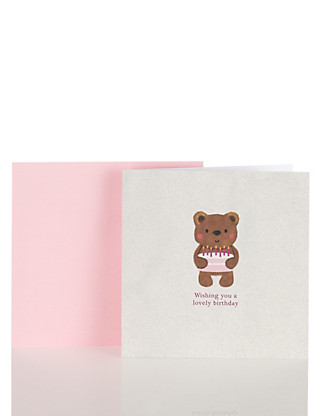 Cute Bear Birthday Card Home
