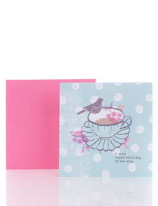 Classic Tea Cup Birthday Card Home