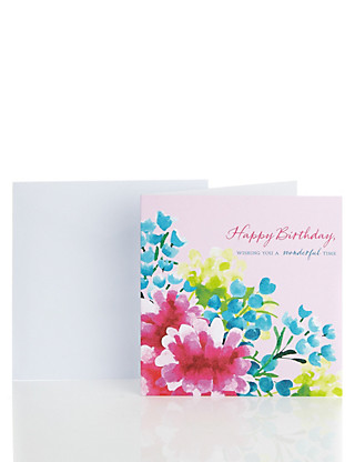 Classic Pink Floral Birthday Card Home