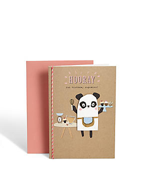 Baking Panda Birthday Card
