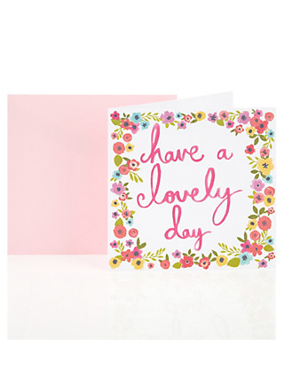 Lovely Day Floral Birthday Greetings Card Home