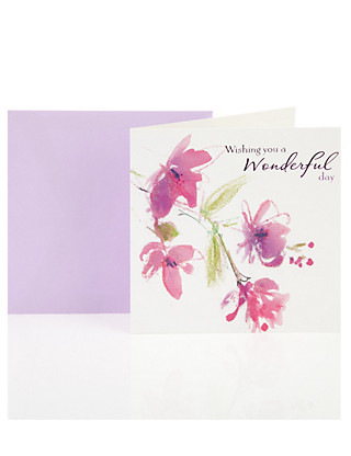 Watercolour Floral Birthday Greetings Card Home