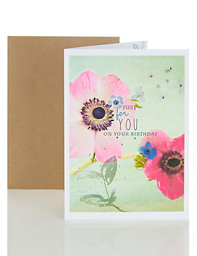 Bright Photo Floral Birthday Card