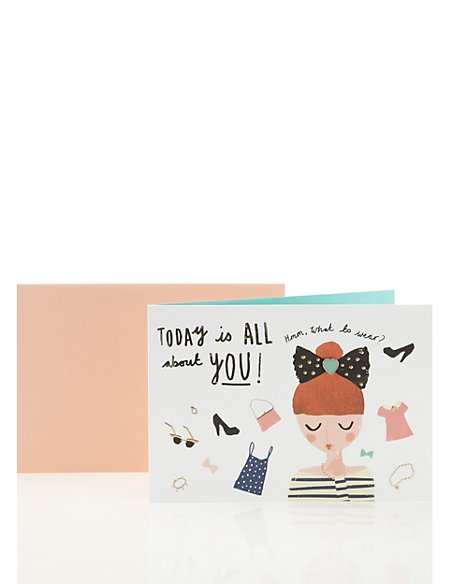 Fashionista Birthday Card with Gold Features & Heart