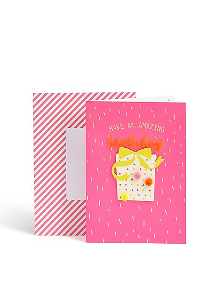 Designer Collection Bold Pink Birthday Card