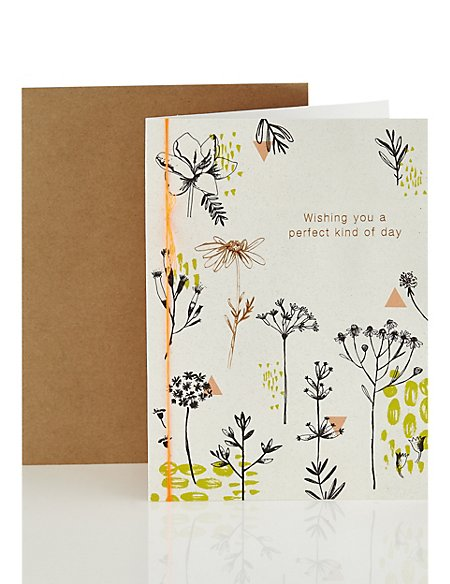 Open Occasion Open Recipient Card with Tree & Flower Design