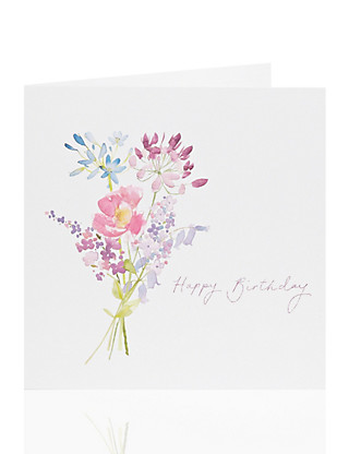 Floral Bouquet Birthday Card Home