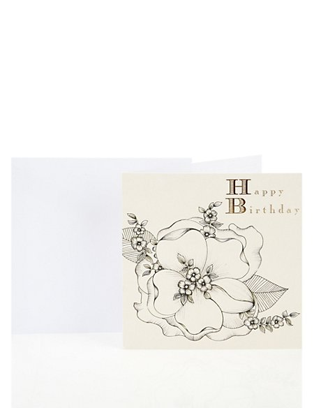 Black & White Floral Birthday Greetings Card