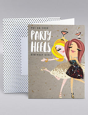Dotty Daisy Party Heels Birthday Card