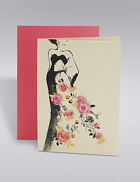 Floral Sequin Dress Birthday Card