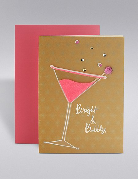Bright & Bubble Pink Cocktail Birthday Card