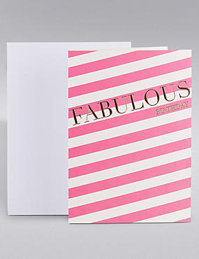 Fabulous Birthday Pink Stripe Card