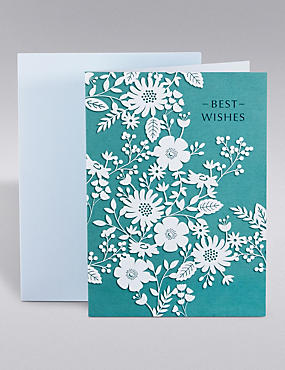Best Wishes Blue Floral Card