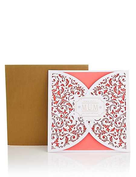 Coral Laser Cut Mum Birthday Card
