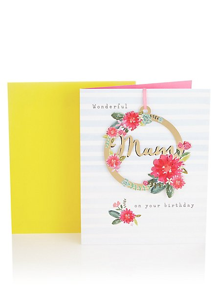 Mum Floral Keepsake Birthday Card