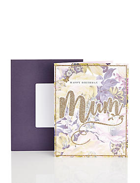Mum Purple & Green Floral Birthday Card