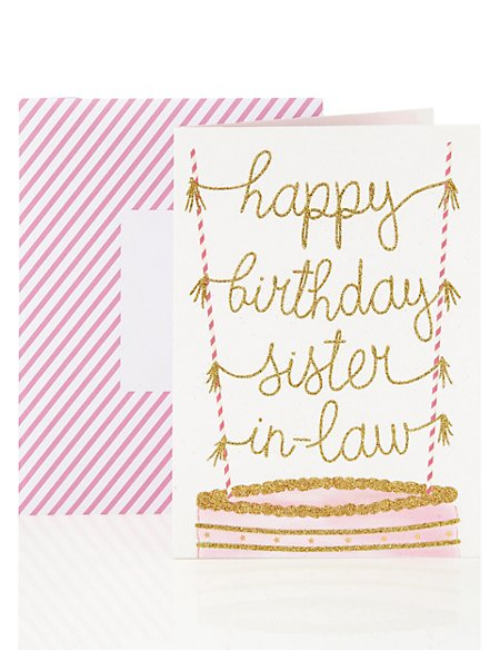Happy Birthday Card for Sister-in-Law Glitter Cake Design