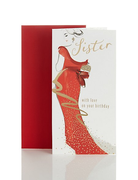 Sister Red Dress Birthday Card