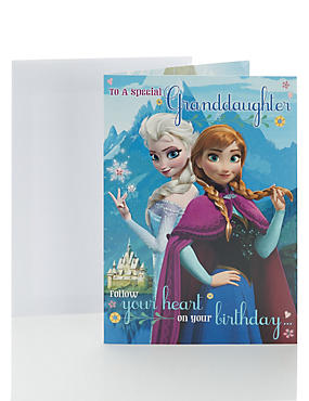 Disney Frozen Granddaughter Birthday Card with Colour in