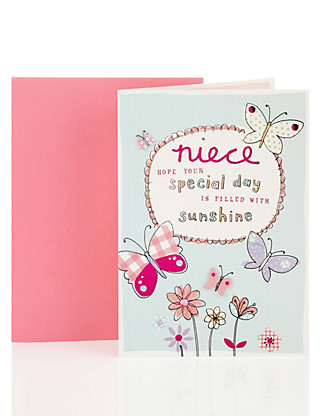 Niece Butterflies Birthday Greetings Card Home