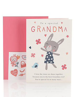 Grandma Rabbit Sticker Personalise Birthday Card