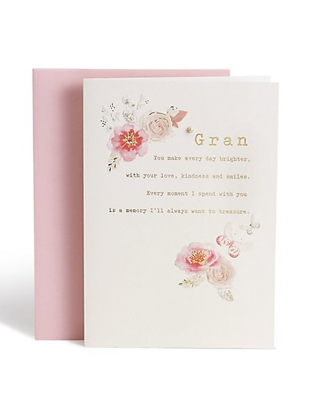 Floral Butterfly Gran Birthday Card